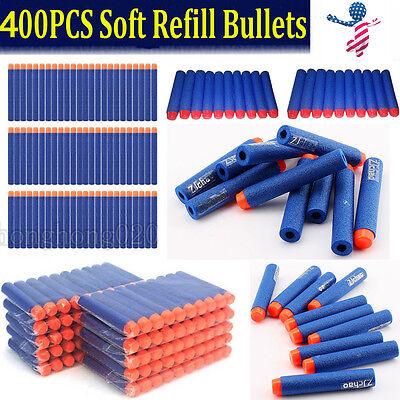 Kids Toy For NERF N-Strike Gun Bullet Darts Round Head Blue Blasters 400 pcs