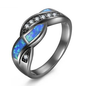 Wavy-Blue-Fire-Opal-Cross-CZ-Wedding-Rings-10Kt-Black-Gold-Filled-Women-039-s-ladies