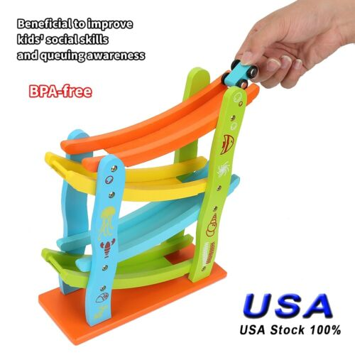 Toys Wooden Race Track Boys Girls 3 Year Old Car Ramp Racer