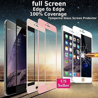 3D Full Coverage Tempered Glass Screen Protector Cover For iPhone 6 6S 7 + Plus