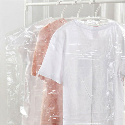 20 40 60 80 100 Pcs Clear Durable Plastic Dry Cleaner Clothes Bags Garment Cover
