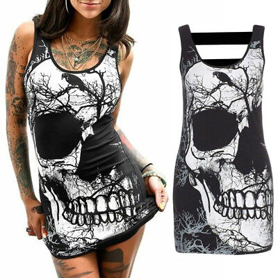 RAVEN SKULL TANK DRESS **NEW** Sizes S-XL - witchy spooky gothic punk halloween