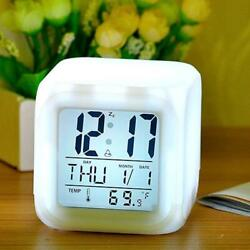 LED Alarm Clock Desk Digital Alarm Thermometer Glowing Cube Clock 7 Colors