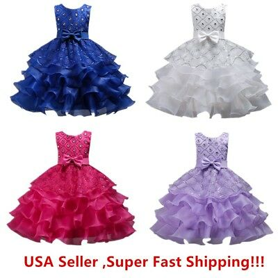 Ruffle Flower Girl Dress (Wedding Flower Girl's Bridesmaid Ruffles Lace Cute Bow Waist Evening)
