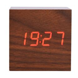 Voice Control Wood Wooden Cube Square LED Digital Alarm Desk Clock Thermometer