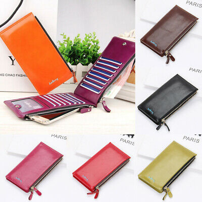 Womens Leather Wallet Multi Credit ID Card Holder Long Clutch Purse Best (Best Leather Wallet Womens)