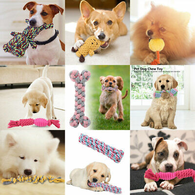 - 8 Types Pet Puppy Cotton Knot Braided Bone Colorful Teeth Clean Rope Toys Hot
