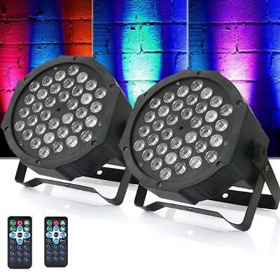 2pcs 36 LED Stage Lights RGB Par Can Flat DMX512 DJ Disco Bar Uplighter Lighting