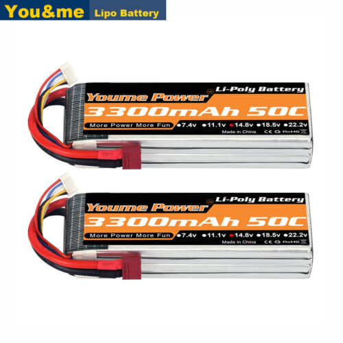 2pcs 14.8V 3300mAh 4S LiPo Battery 50C Deans/T For RC Helicopter Airplane Boat