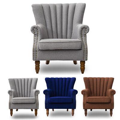 Vintage Linen Grandpa Chair Armchairs Sofa Comfy Foam Fill Oak Grey Blue Brown