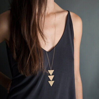 Very Long Pendant Necklace Gold Triangle Geometric Thin Chain Minimalist Elegant Geometric Triangle Pendant