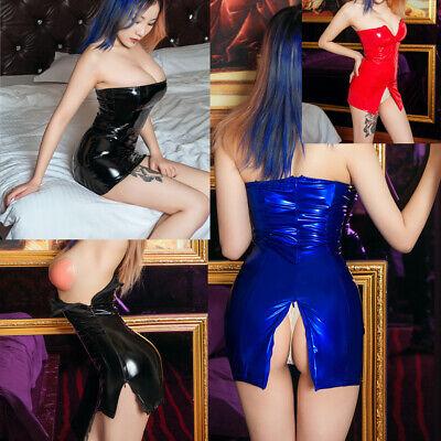 Damen Latex Wetlook Reißverschluss offen Kleid Minikleid Mini Dress Partykleid - Latex Damen Mini