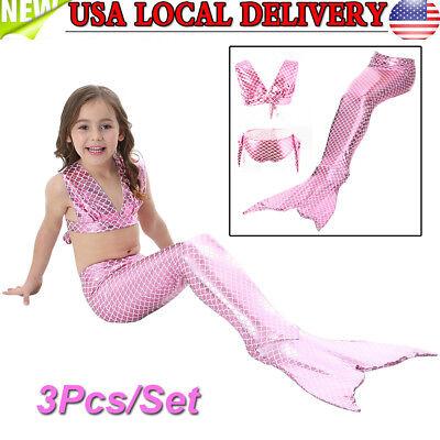 Girls 3Pcs Swimwear Mermaid Tail Swiming Costume Monofin Flippers Swimsuit Pink (Girls Pink Mermaid Costume)