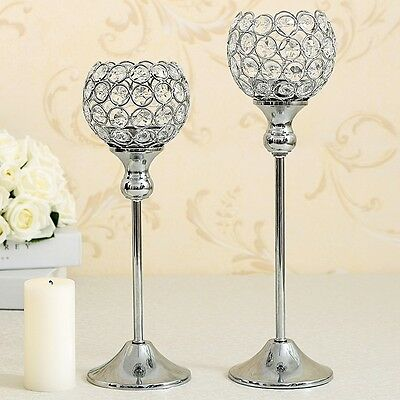 Crystal Candle Holders Set of 2 Table Centerpieces Glass Candlesticks Candelabra