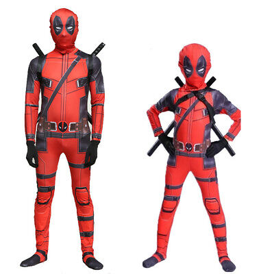 Adult/Kids Lycra Halloween Deadpool Cosplay Costume Zentai Bodysuit Jumpsuit set
