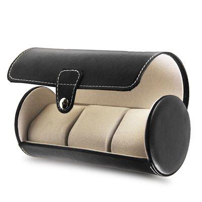 Travel Watch Case Leather Organizer 3 Slots Portable Luxury Roll Box Men Women