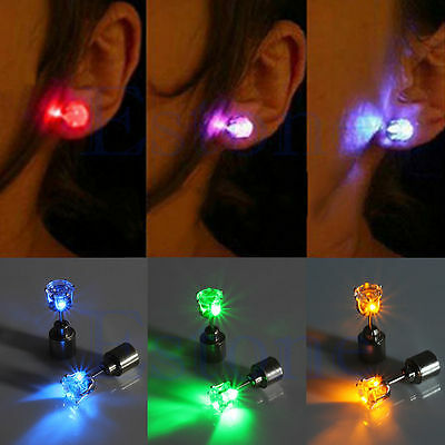 2PCS FASHION LED LIGHT UP BLING 1PAIR EAR STUDS EARRINGS FOR DANCE PARTY