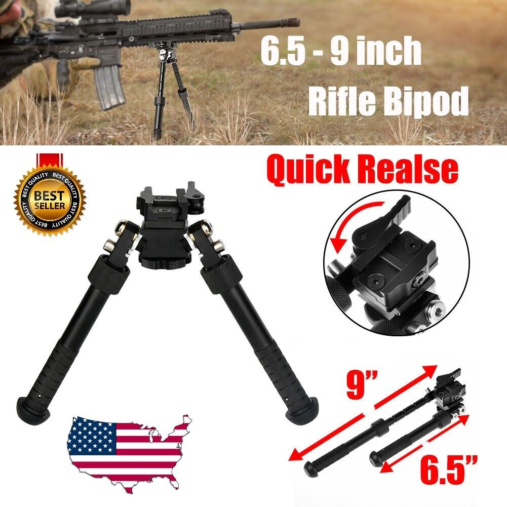 "Rifle Bipod 4.75- 9"" Foldable QD Picatinny Rail Mount V8 Adj"