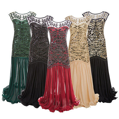 1920s Vintage Sequin Gatsby Maxi Dress Prom Long Dress Evening Gown for Women