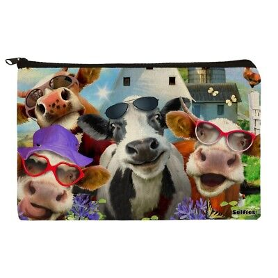 Udderly Cool Cow Farm Selfie Makeup Cosmetic Bag Organizer Pouch