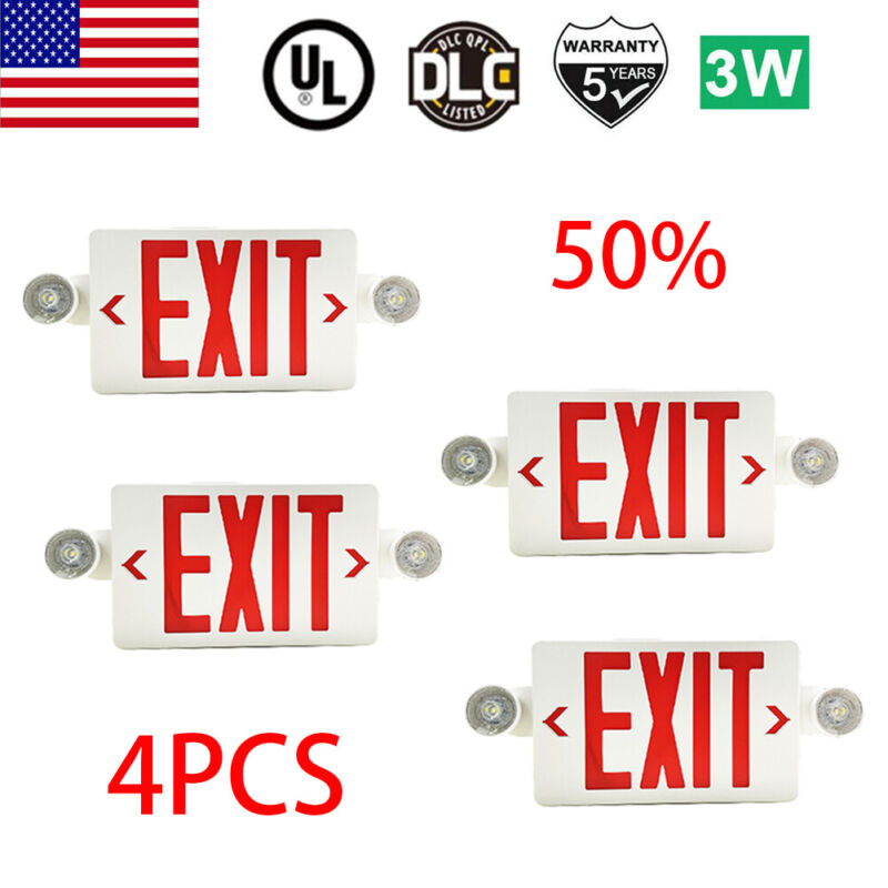 4Pack LED Exit Sign Emergency Light–Hi Output Compact Combo UL listed Red Fire