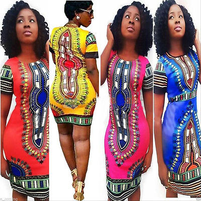 Sexy Women Summer Traditional African Print Dashiki Bodycon Short Sleeve Dress