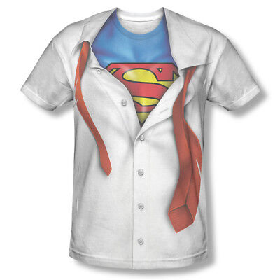 Superman Button-Down Costume Sublimation T-Shirt - Superman White Costume