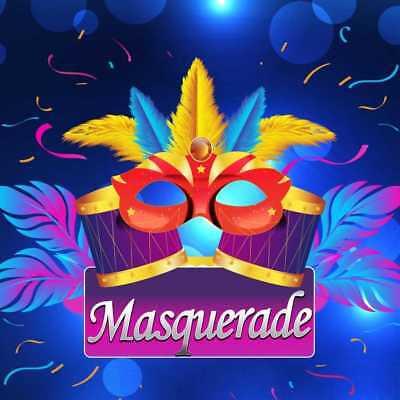 Masquerade Mask Fur Blue Light Photography Backdrop Printed Background HXB-193 - Masquerade Backdrop