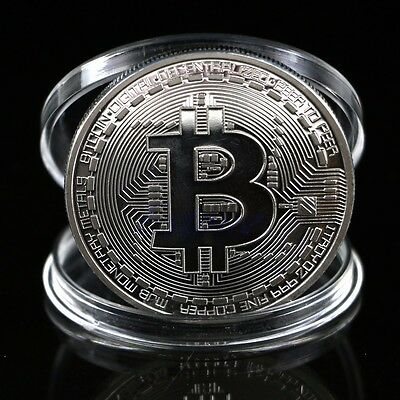 1 x Silver Plated Bitcoin Coin Collectible BTC Coin Art Collection Gift Physical