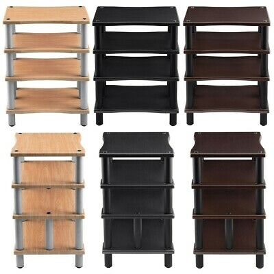 4 Shelf Audio Video TV Media Component Stand Rack Equipment Shelves Wood & Steel Shelve Audio Stand