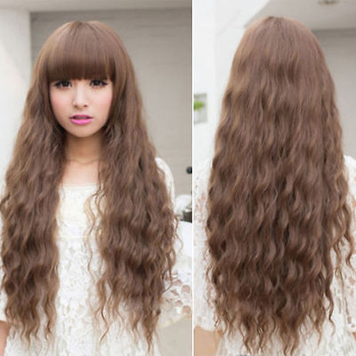 Womens Cosplay Wig Long Wavy Curly Ombre Red Hair Costume