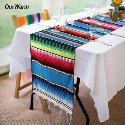 Mexican Serape Table Runner Fringe Cotton Tablecloth Fiesta Party Table Decor - Fiesta Table Runner