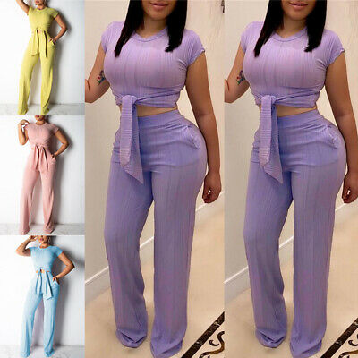 Women 2 Pieces Set Ladies Bodycon Crop Top+Long Pants Cut Out Jumpsuit Romper ()