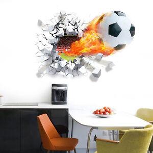 3D Soccer Ball Football Wall Sticker Decal Mural Kids Bedroom Home Room Decor