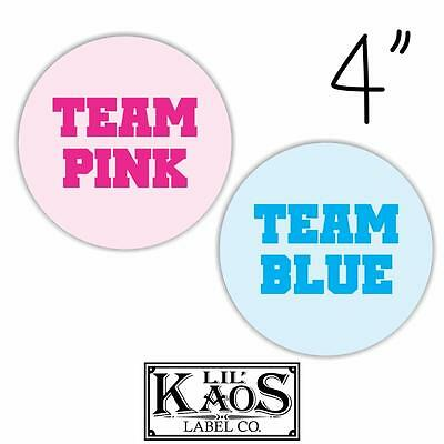 12 Gender Reveal Stickers Labels Shirt Tags Party Baby Team