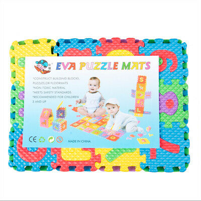 Baby Soft EVA Foam Play Mat Alphabet Numbers 0-9 Puzzle DIY Toy Floor Tile Game