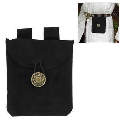 Renaissance Medieval Leather Black  Coin Belt Suede Pouch