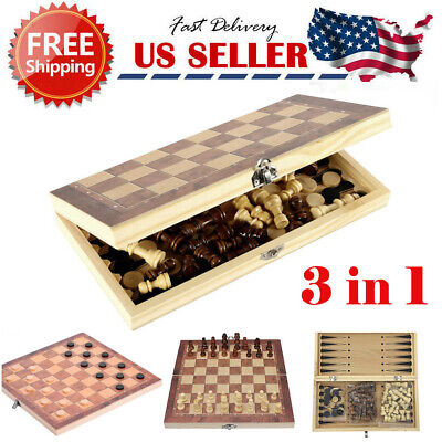 Wooden Chess Game Set Large Wood Board Folding Storage Box Hand Carved Piece US