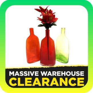 30cm Glass Vase Orange / Red / Green (Home Decor Clearance)