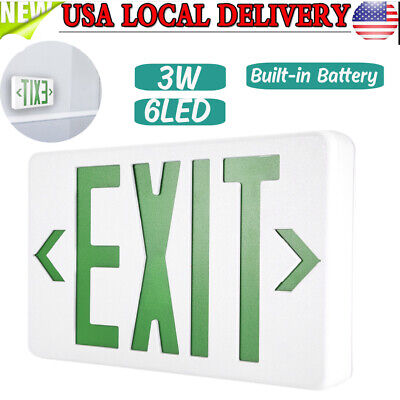 Us 3w 6 Led Emergency Exit Light Sign - Battery Backup Fire Green And White New