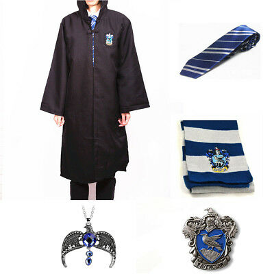 Harry Potter Ravenclaw Robe Cloak Costume Cape +Tie+Scarf+Necklace+Badge Cos Set - Harry Potter Robes Ravenclaw