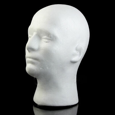 Male Manikin Head Model Wig Glasses Styrofoam Foam Mannequin Hat Display Stand