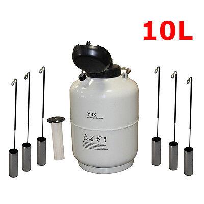 New 10l Liquid Nitrogen Tank Cryogenic Container Ln2 Dewar6pcs Pailslock Cover
