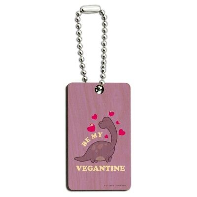 Be My Vegantine Valentine Vegan Funny Wood Wooden Rectangle Keychain Key Ring for sale  Shipping to India