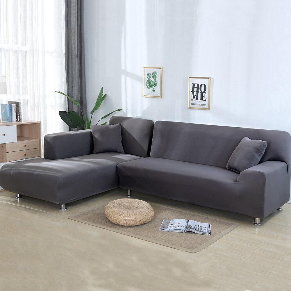 2pcs Sofabezug stretch elastische Sofahusse Abdeckung Für L Form Schnittsofa #Gr