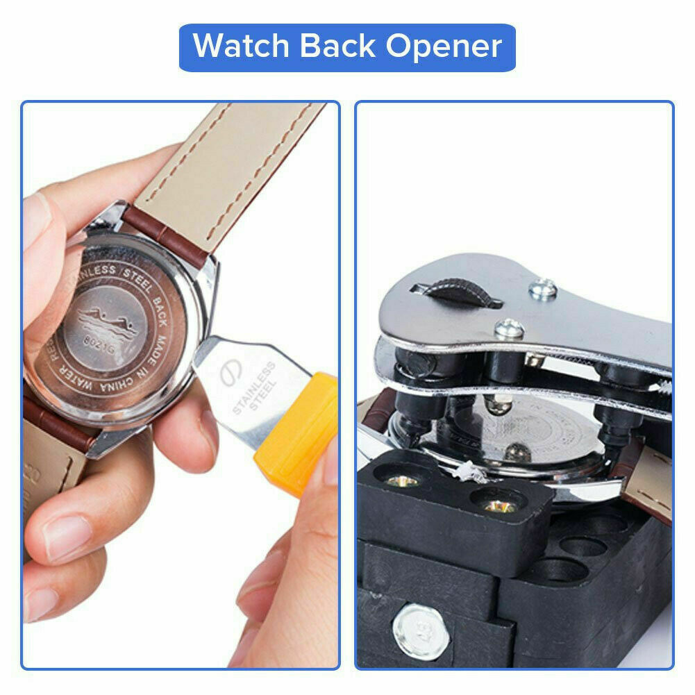 Watch Repair Tool Kit Opener Link Remover Spring Bar Free Hammer Carry Case BS Jewelry & Watches