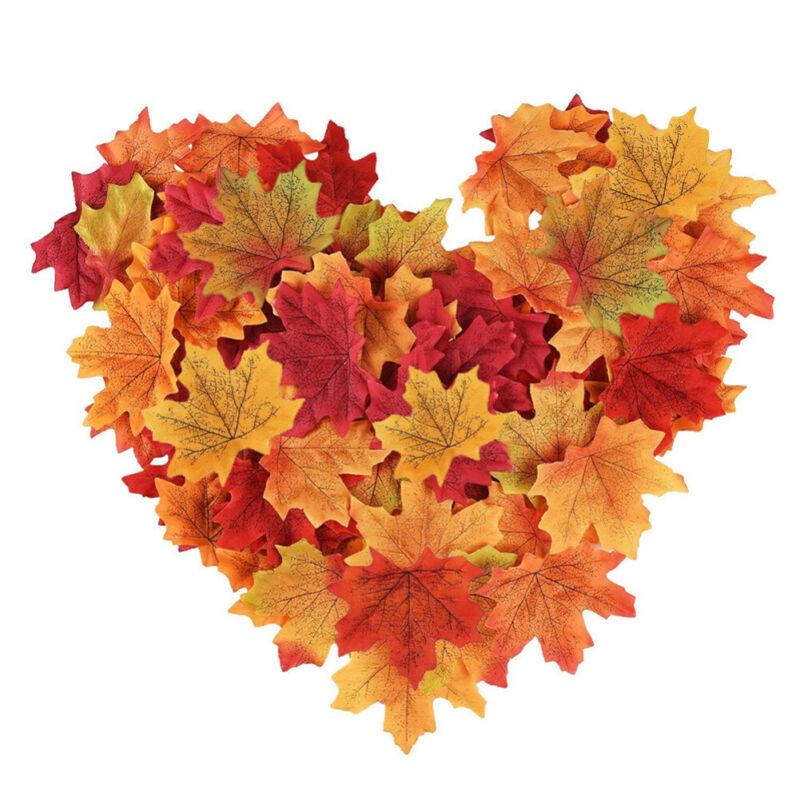 200Pcs Mixed Artificial Autumn Maple Leaves Silk Fall Wedding Home ...