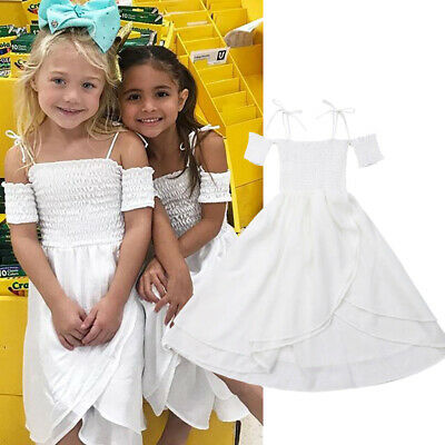 Kids Girl Cold Shoulder Shirred Dresses Holiday Pageant Party Long Maxi Dress
