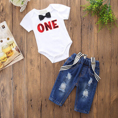 Baby Boy 1st Birthday Outfit (Baby Boy 1st Birthday Outfit Clothes Bow Romper Suspender Pants Denim Jeans)
