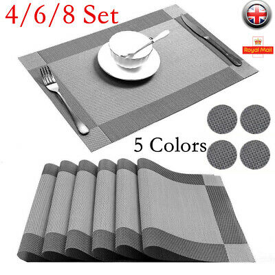 Set of 4/6/8 PVC Place Mats+Coasters Dining Table Placemat Non-Slip Washable Set